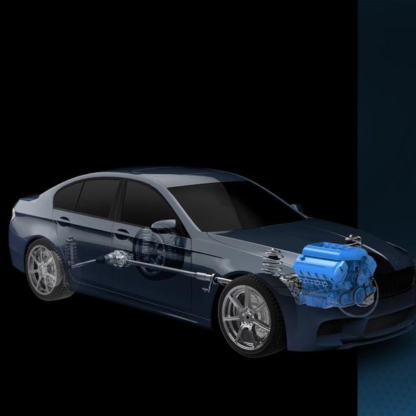 BMW design with the title '3D car cut illustration'