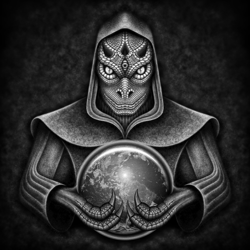 Third eye design with the title 'Reptilian Character Illustration'