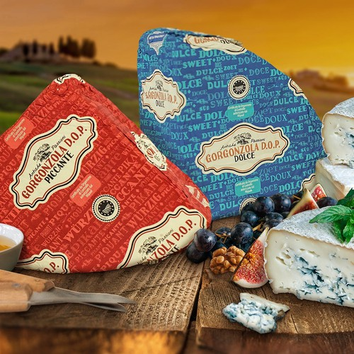 Cheese design with the title 'Patterned packaging for Netherlands gorgonzola cheese.'