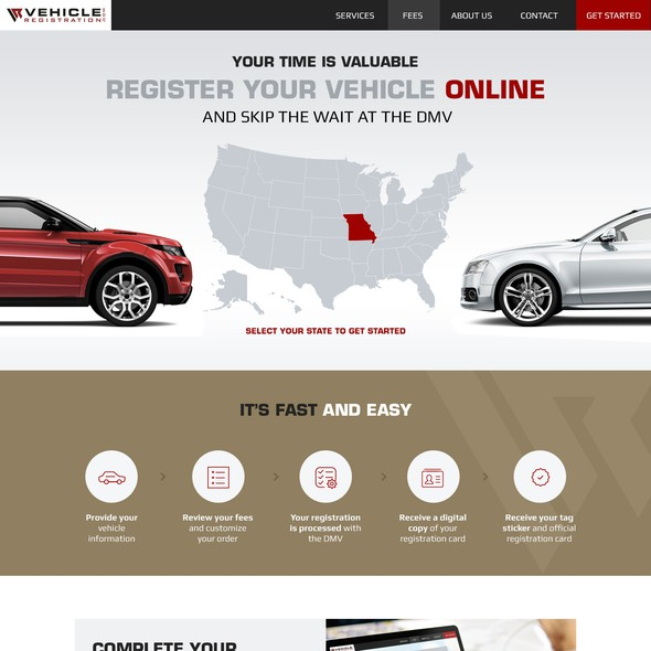 Car website with the title 'Vehicle Registration Home page design'