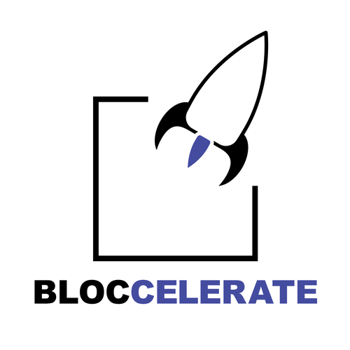 Rocket ship logo with the title 'Accelerator design for Bloccelerate'