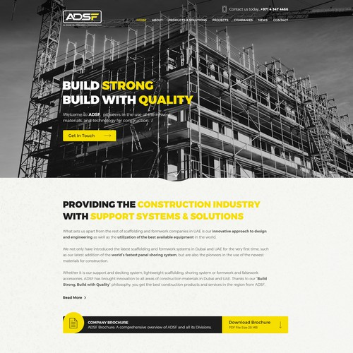Professional website with the title 'ADSF(Al Dhabi Scaffolding & Formwork LLC))'