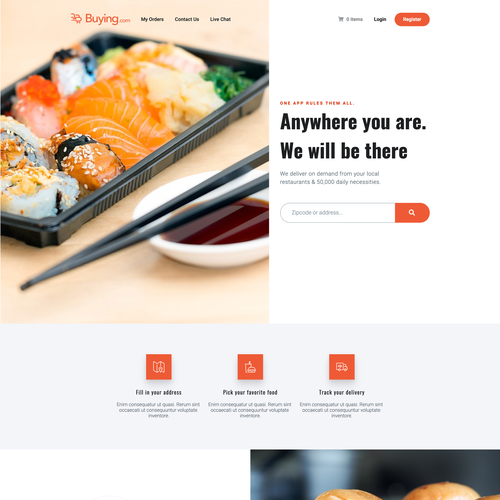 Orange website with the title 'Food delivery service website'
