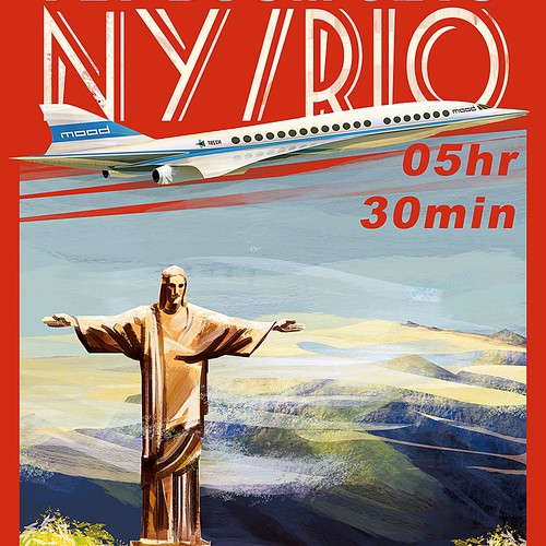 Travel artwork with the title 'Vintage Airline Poster'