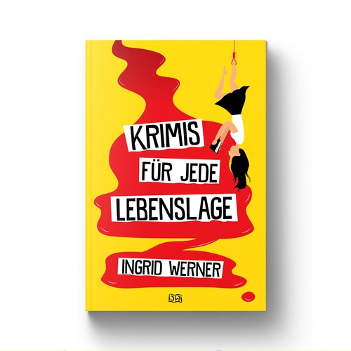 Yellow and black design with the title 'Krimis für jede Lebenslage Book Cover'