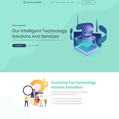 Artificial intelligence website with the title 'Website Design for an emerging AI based technology start-up'