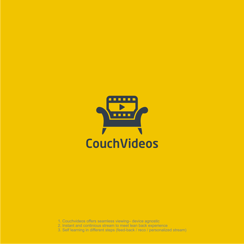Combination logo with the title 'CouchVideos'