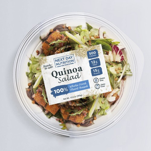 Sticker label with the title 'Packaging for healthy Quinoa Salad'