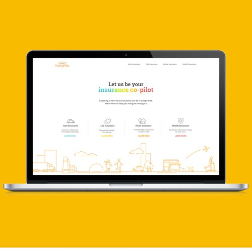 Insurance website with the title 'Modern Website for PolicyPilot Insurance'