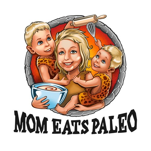 Recipe design with the title 'Mom Eats Paleo logo'