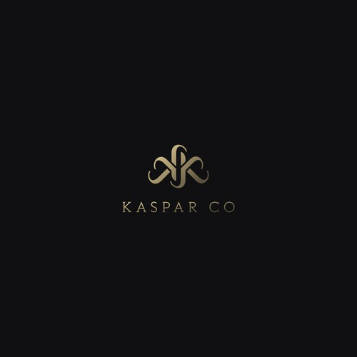 Black and gold logo with the title 'Kaspar Co - logo design contest winner'