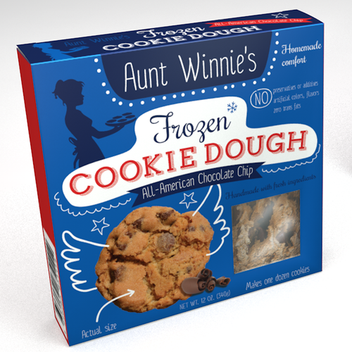 Cookie packaging with the title 'Create a commercial package for frozen, handmade cookie dough'