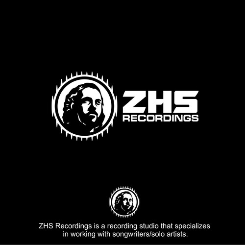 Stencil logo with the title 'Logo Concept for ZHS Recordings'