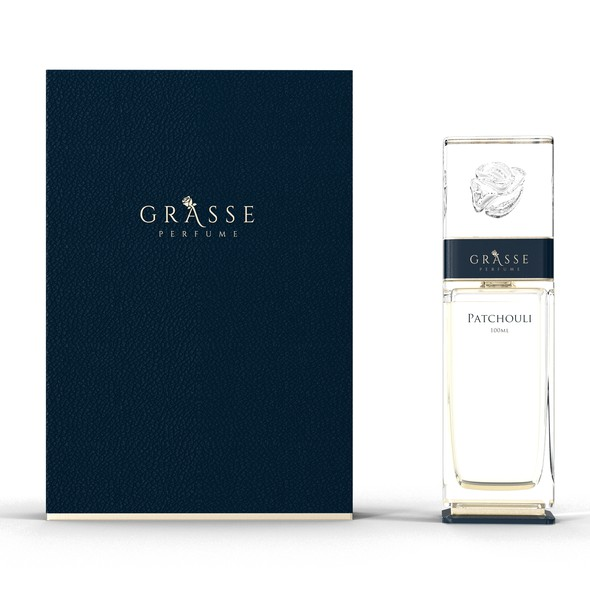 Luxury packaging with the title 'Parfume bottle and box for luxury brand'
