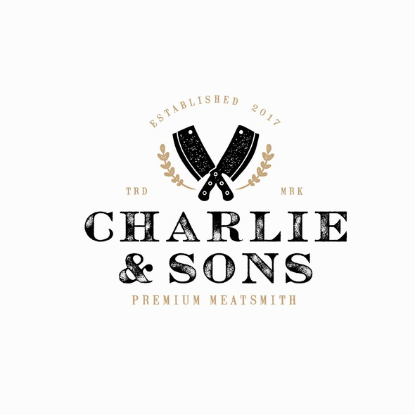 Butchery logo with the title 'Charlie & Sons Logo'