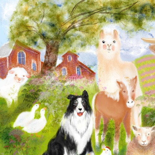 Farm artwork with the title 'Painting for Farmyard Jigsaw Puzzle'