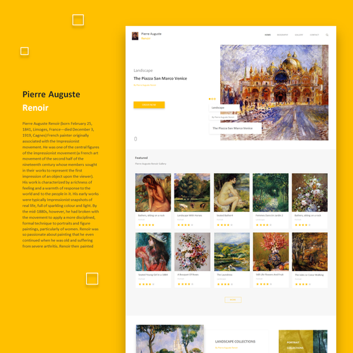 Art and design website with the title 'Pierre Auguste Renoir'