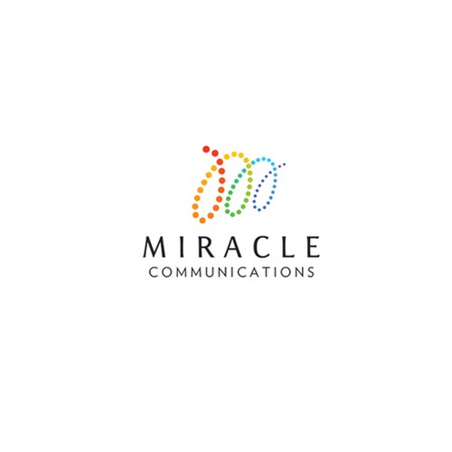 Rainbow brand with the title 'Logo concept for Miracle Communications'