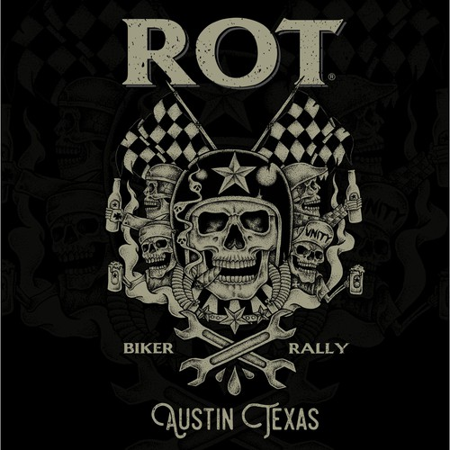 Emblem t-shirt with the title 'My work for ROT Biker Rally'