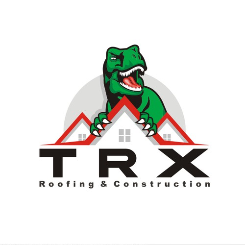 T-rex logo with the title 'TRX Roofing & Construction'