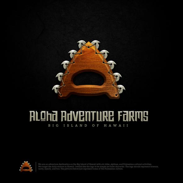 Polynesian logo with the title 'Aloha Adventure Farms'