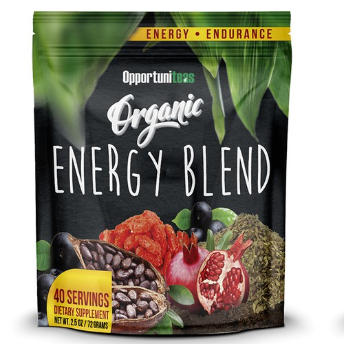Energy label with the title 'Energy Blend'