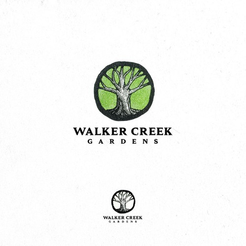 Black and white logo with the title 'Walker Creek Gardens'