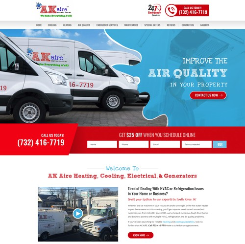 Residence design with the title 'Heating, Cooling, Electrical Company Website'
