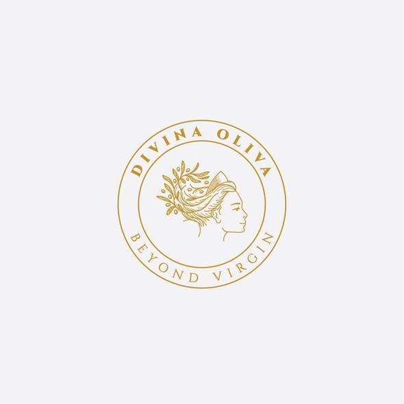 Olive branch logo with the title 'Divina Oliva Logo design'