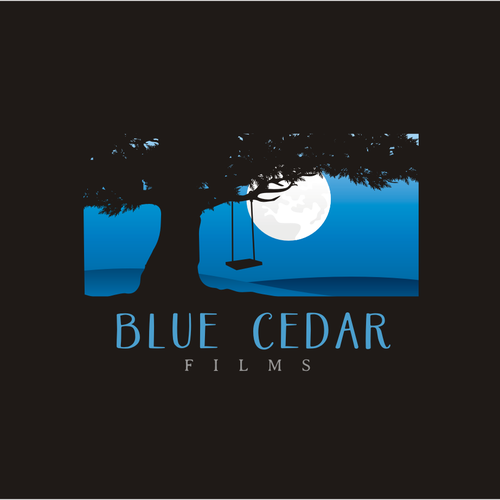 Night logo with the title 'Film Production Company: design 'Blue Cedar Films' new Logo.'