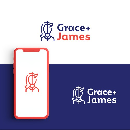Masculine logo with the title 'Grace+James'