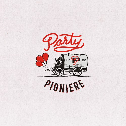 Western logo with the title 'logo for PARTY PIONIERE'