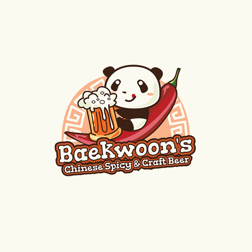 Chili pepper logo with the title 'The Winning Logo for Baekwoon's'