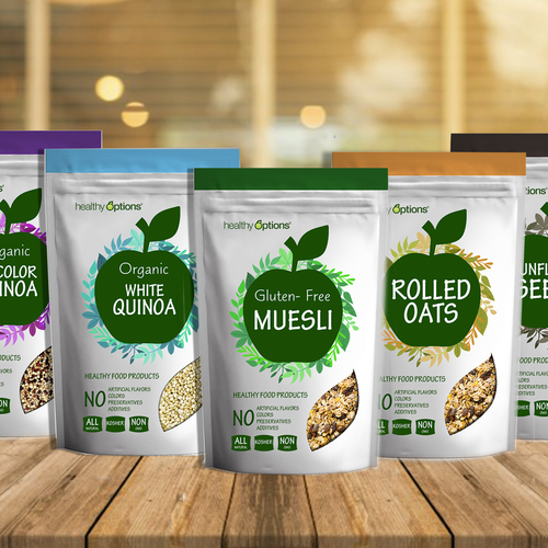 Gluten-free packaging with the title 'Healthy food products label'