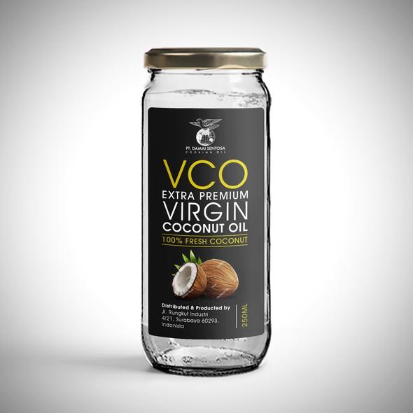 Professional label with the title 'Label design for Damai Virgin Coconut Oil'