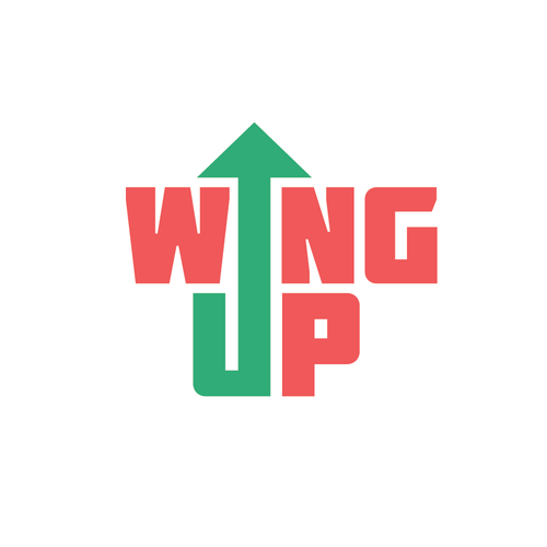 Upward logo with the title 'WingUp - a new travel app'