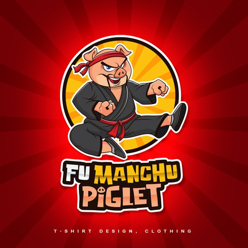 Karate design with the title 'Fu Manchu Piglet'