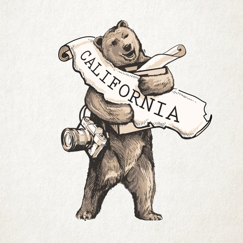 Classic illustration with the title 'California Bear Mascot'