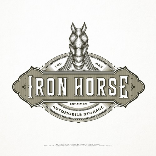 Detailed logo with the title 'Iron Horse exotic car sale'