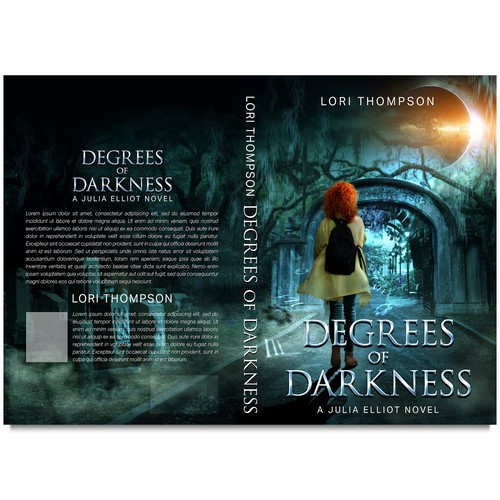 Collage design with the title 'Book cover DEGREES OF DARKNESS'