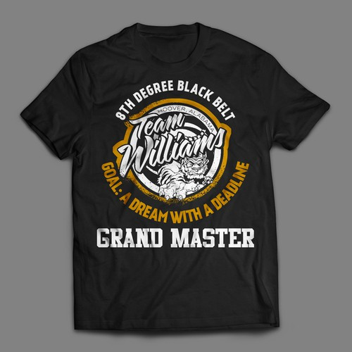 Team t-shirt with the title '8th Degree Black Belt - Grand Master - T-shirt Contest'
