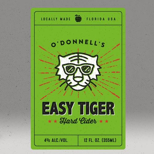Cider label with the title 'Easy Tiger - Hard Cider'