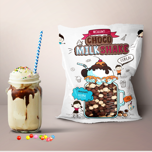 Cartoon packaging with the title 'Package for Choco MilkShake Cereal'