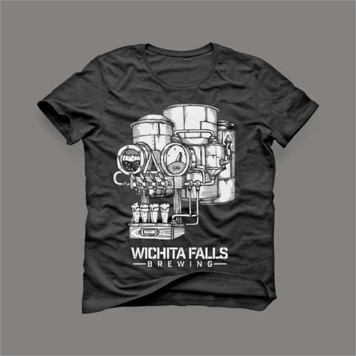 Freehand design with the title 'wichita falls brewing t shirt'