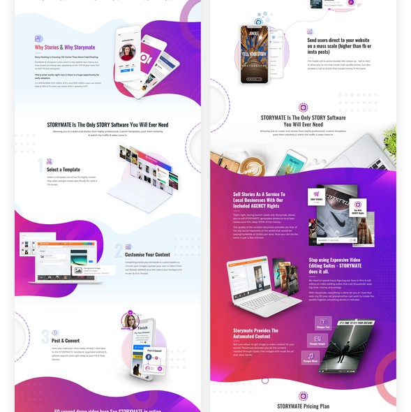 Sales page design with the title 'Sales Page for SAS Software'