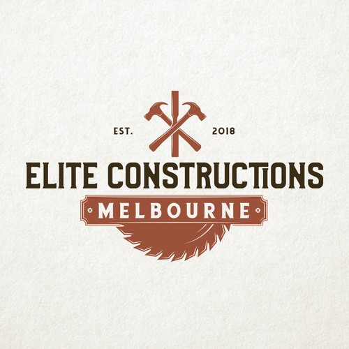 Hammer design with the title 'Elite Constructions Melbourne'