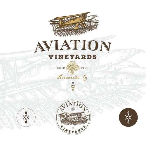 Old school logo with the title 'Aviation Vineyards logo design'