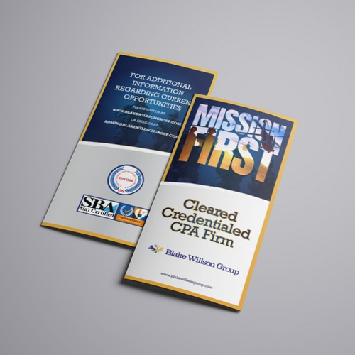 Tri-fold design with the title 'Trifold Brochure Design for Blake Willson Group'