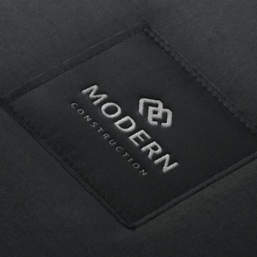 M design with the title 'MODERN CONSTRUCTION'