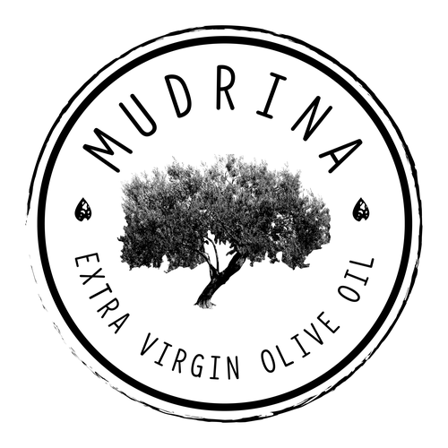 Olive tree logo with the title 'Mudrina Logo'